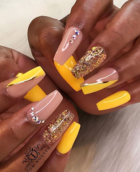 Nail Coffin Nails Yellow