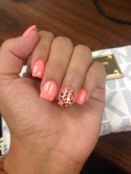 Nail Coral Cheetah Summer