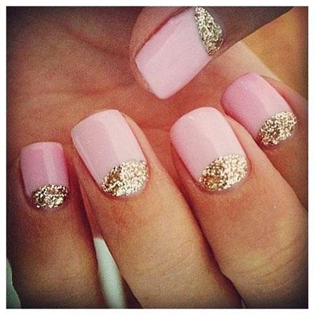 Nails Pink Nail Gold