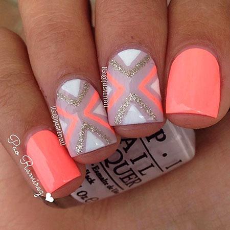 Nail Neon Short Orange