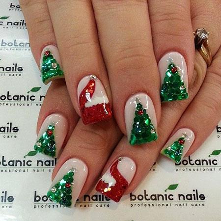 Christmas Nails Nail Tree