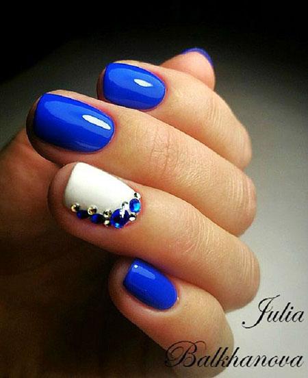 Short Nail Idea, Nail Blue Nails White