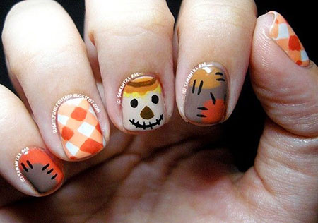 Cute Colored Fall Nails, Nail Fall Halloween Art