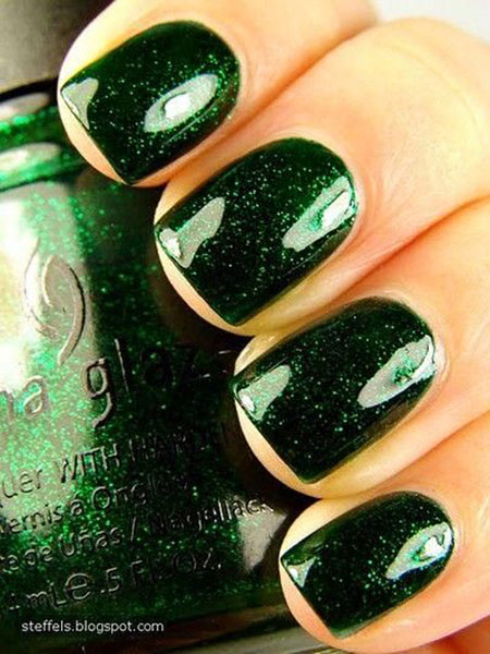 Sparkly Green Nail Art, Polish Green Glitter Nail