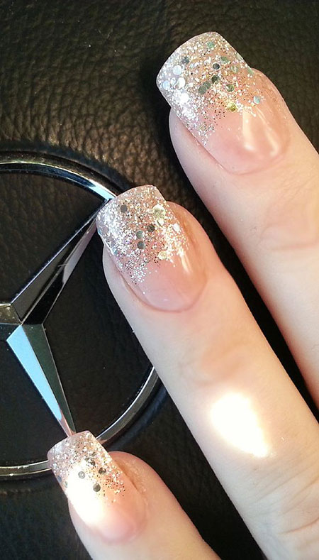 Glittered French Nail Design, Glitter Nails Nail Gel
