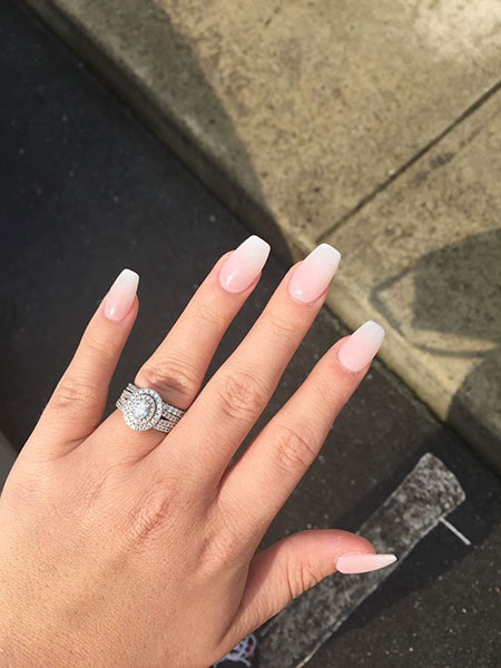 French Ombre Nails, French Ombre Coffin Rings