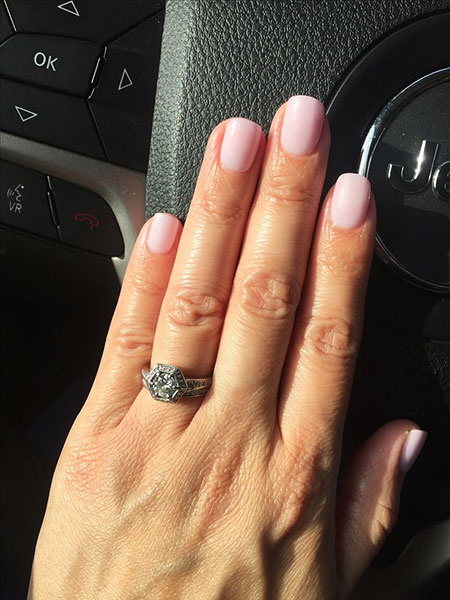 Light Pink Dip Nail Style, Pink Engagement Colors Cushion