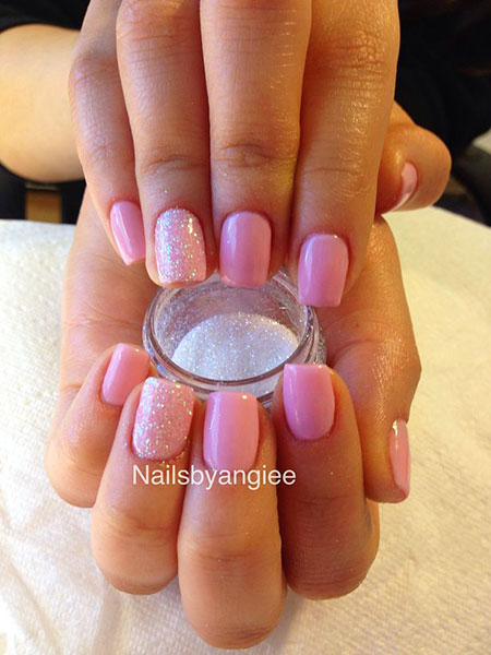 Short Pink Nail Design, Nails Nail Glitter Manicure