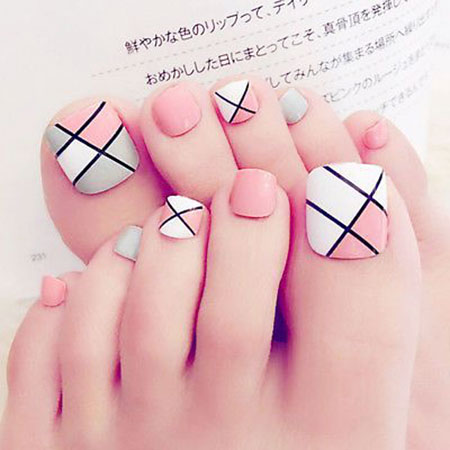 Geometric Toe Nail Design, Nail Toe Nails Designs