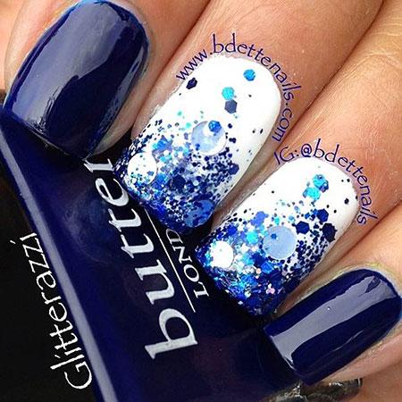 Nail White Blue Glitter