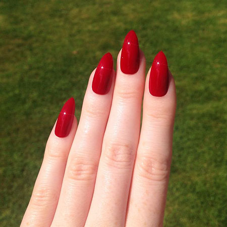 Red Nails Acrylic Nail