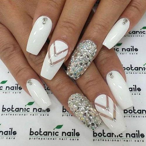 White Nail Designs with Rhinestones