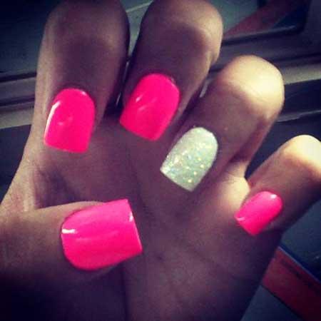 Hot Pink And Silver Nails