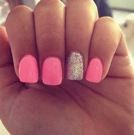 Pink Nails with One Glitter