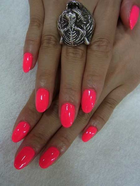 Short Hot Pink Nails