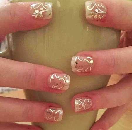 Gold Bridal Nail Designs 2017 - 19