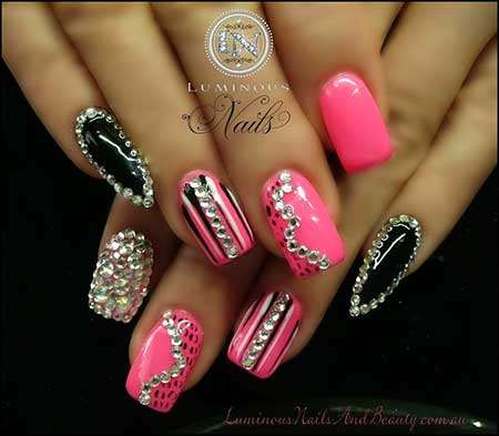 Pink Nail Designs with Diamonds 2017 - 19