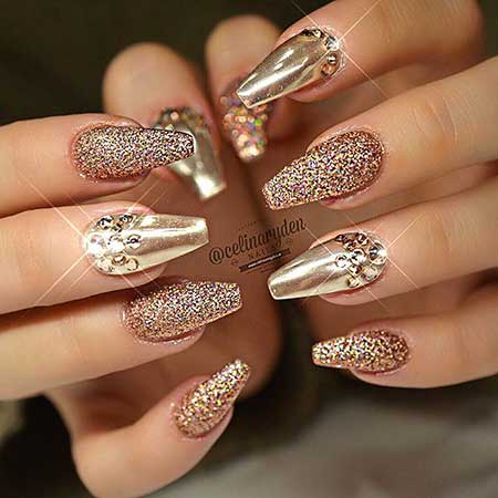 Gold Chrome And Glitter Nails