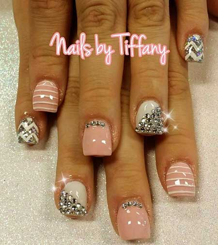 Pink Nail Designs with Diamonds