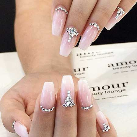 Pink Nail Designs with Diamonds - 23