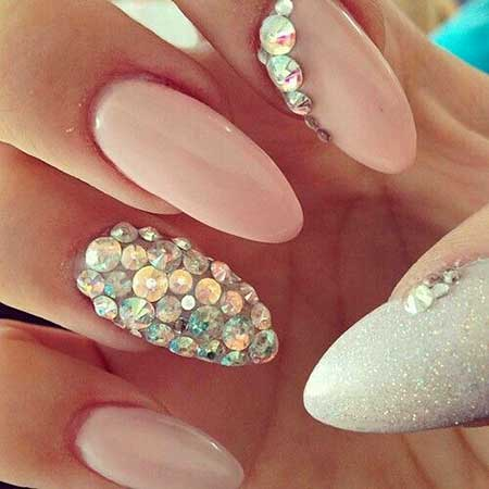 Pink Nail Designs with Diamonds 2017 - 24