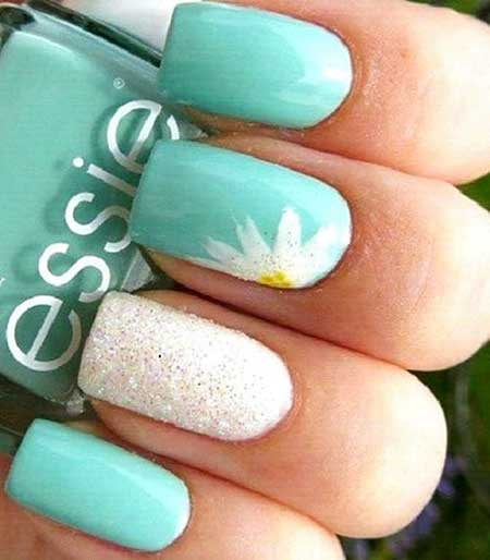Summer Turquoise And White Nails