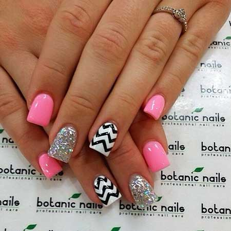 Chevron And Glitter Hot Pink Nails