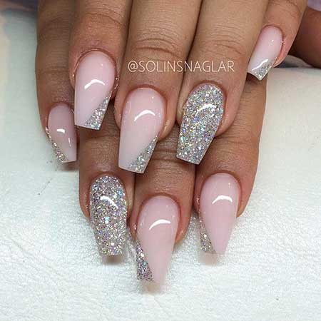 Nude And Silver Nails