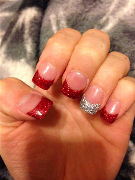 Christmas Nail Designs Red and White , Nail Art Designs 2017