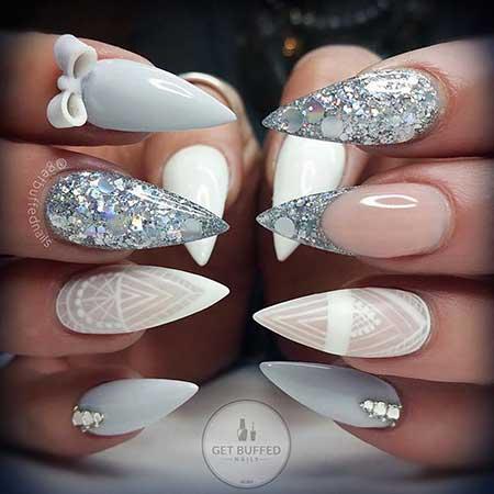 S, Stiletto Nail, Wedding Getbuffed, Stilettos, Grey