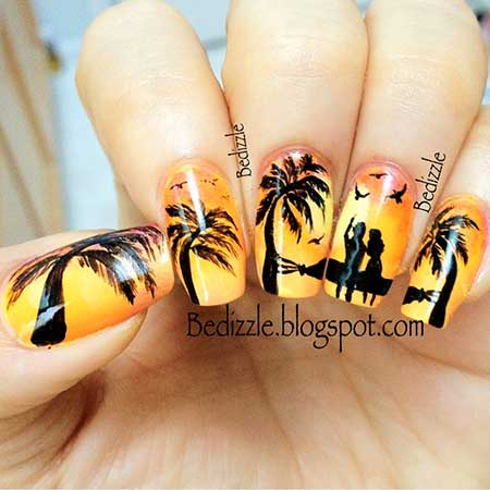 Palm Trees, Art, Sunset Tree Nail, Summer Beach Tree, Beach, Palm [,