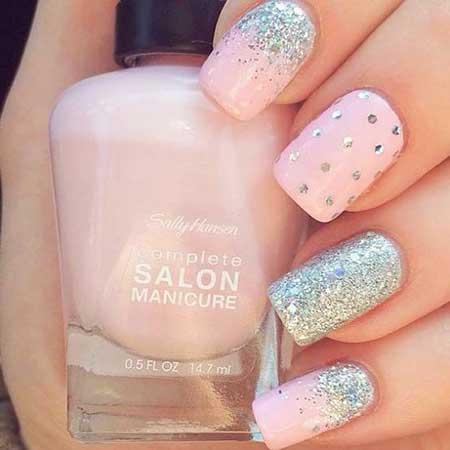 Nail, Pink Wedding Spring Glitter Nail, Pretty Nail, Pink, Silver, Wedding