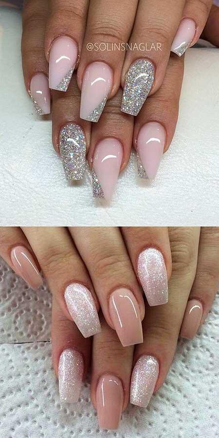 Glitter, Weddingglitter Nail, Acrylic Coffin Pink