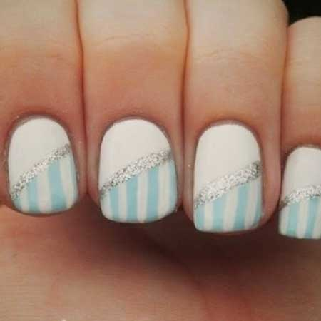 White And Blue Nail Designs