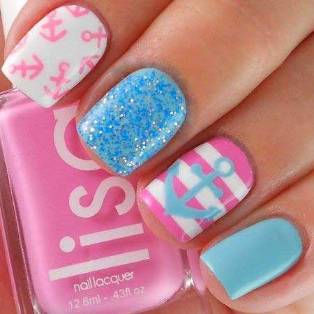 Nail, Glitter Nail, Summer Polish, Pretty Nail, Glitter, Beach, Summer