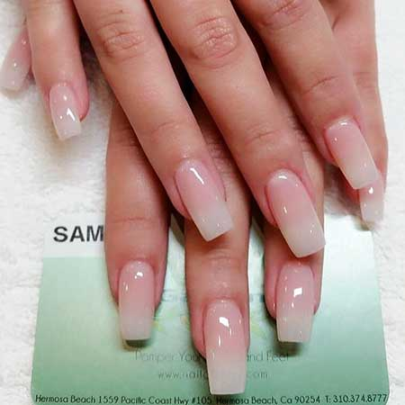 French Manicure, Acrylic French Nail, Manicures, French, Ombre Nail, Long, Ombre [,