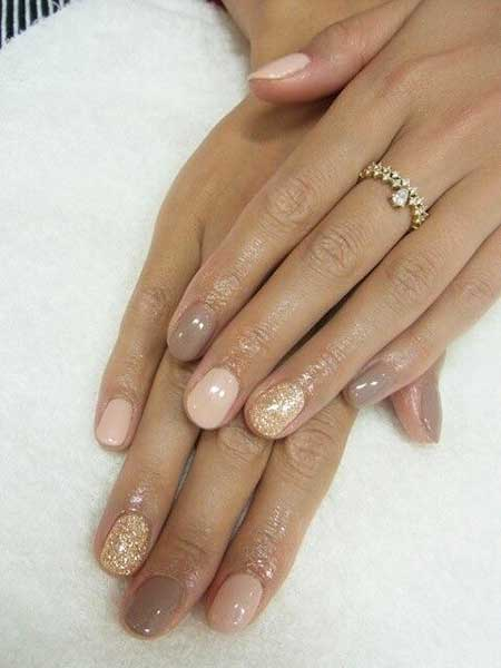 Nude Manicures, French Manicure, Nudes, Glitter, Wedding Natural, Nude, Gold [,