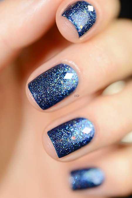 Polish, Glitter, Nail Polish, Swatch, Glitter Nail, Galaxy Blue, Short, Square, Galaxy