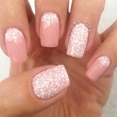 Pink Lace Nail, Weddingfrench Manicure, Pretty Nail, Nude, White, Pink, Lace