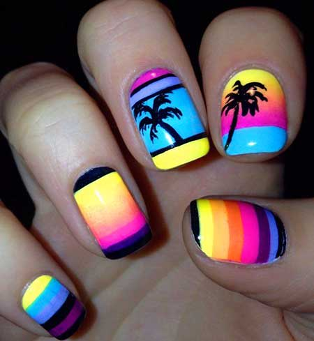 Summerpalm Trees, Beach Nail, Sunset Art, Tropical Nail, Beach, Palm