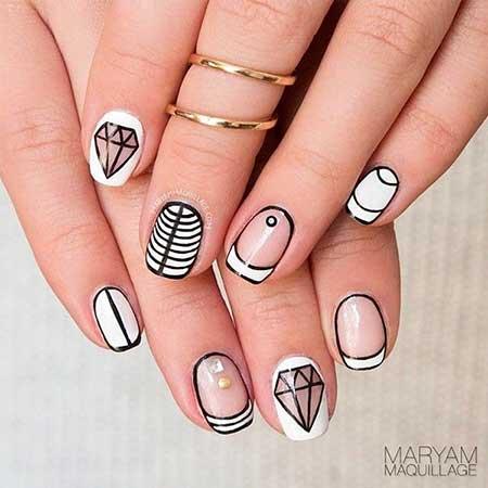 Marble Nail Art, White Nail, Negative, White