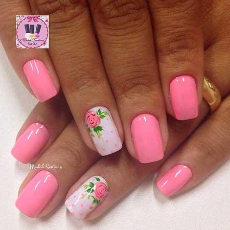 Polka Dots, Pink, Pink Flower Nail, Art, Polka, Floral