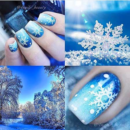 Glitter, Winter Snowflake Polish, Blue, Art, Christmas Ombre