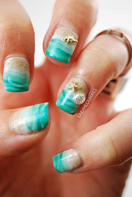 Art, Glitter, Blue, Pretty Nail, Manicures, Beach