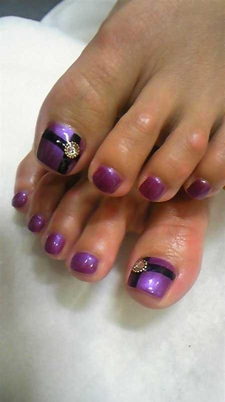 Art, Gel Purple, Gel, Glitter, Toe Nail