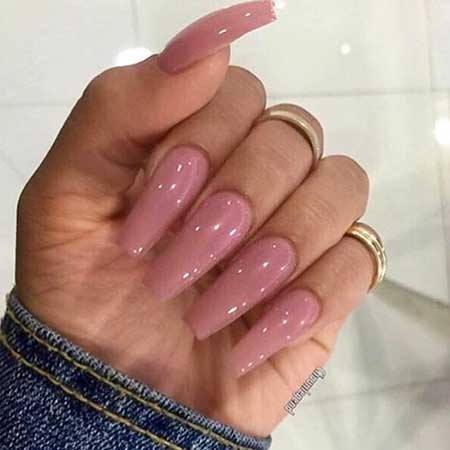 Nail, Pink Acrylic Nude Pink, S, Long, Nude, Idea, Acrylic