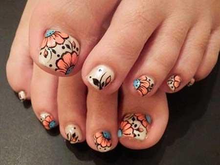 Art, Toe Nail, Flower Nail, Halloweenfloral