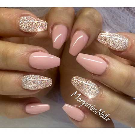 Stiletto Acrylic Nail, Coffin Glitter Nail, Glitter, Pink