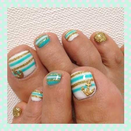Toe Nail, Toe, Art, Summer Pretty Nail, Blue