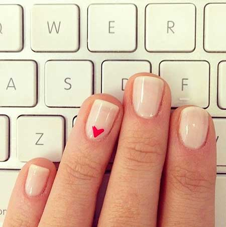 Heart Nail, Nail Polish, Nude Manicures, French Manicure